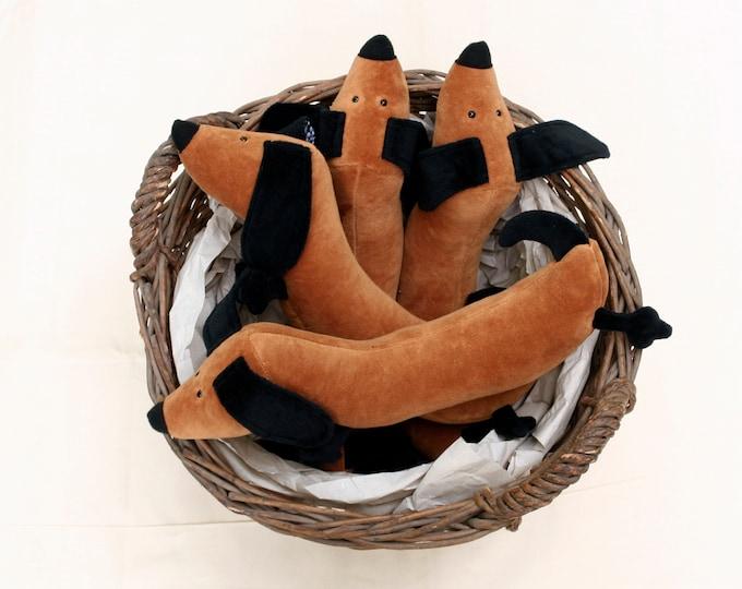 Little Sausage Dog Plushie, Cute Dachshund Stuffie, Brown Wiener Doggie Plush, Soft Doxie Stuffed Toy
