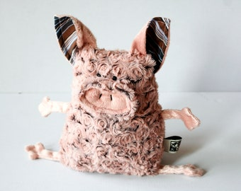 Curly Mangalica Pig Muma Stuffie Toy, Pink Piggy Plushie, Funny Pig Pocket Plush