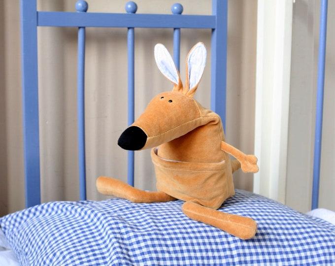 Baby Ponca Kangaroo, Little Wallaby Plush, Soft Kangaroo Toy, Funny Plush Baby Kangaroo