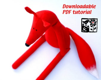 Sewing Pattern My Red Fox by Andrea Vida, Downloadable PDF, DIY Soft toy making guide, stuffed animal tutorial, toy pattern
