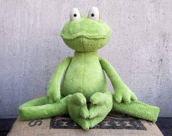 Frog Prince XXL or Medium Green Frog soft stuffed plush toy Cuddly Toad Plushie