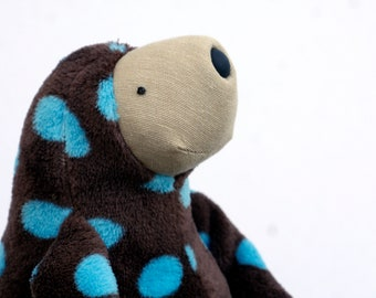 Plush Sloth Brown Spotty Soft Toy, Ready to Ship, stuffed animal toy for children, Limited Edition Special Sloth Plush