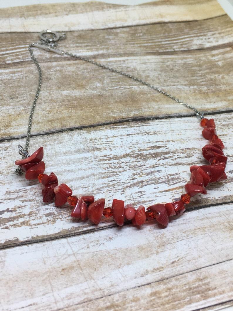 33c44fbc505af Red Coral and Swarovski Bar Necklace / Red Coral Chip Necklace / Red Bib  Necklace / Bright Red Beaded Necklace /