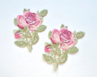 Pink Garden Roses Appliques, Pink Embroidered Flower Appliques, Shabby Chic Roses for Sewing, Flower Girl Dress, bridal Headpiece