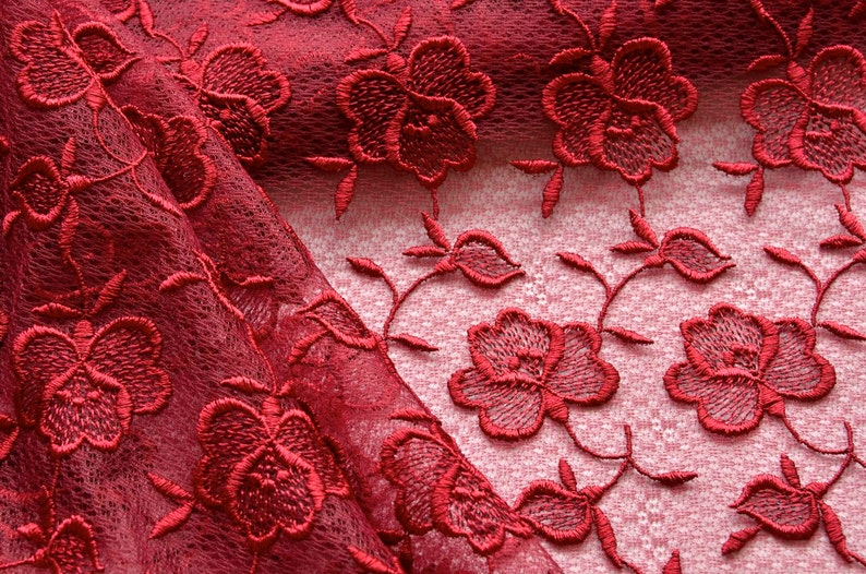 Red Floral Lace Fabric Red Roses Wine Red Lace Dark Rose Etsy