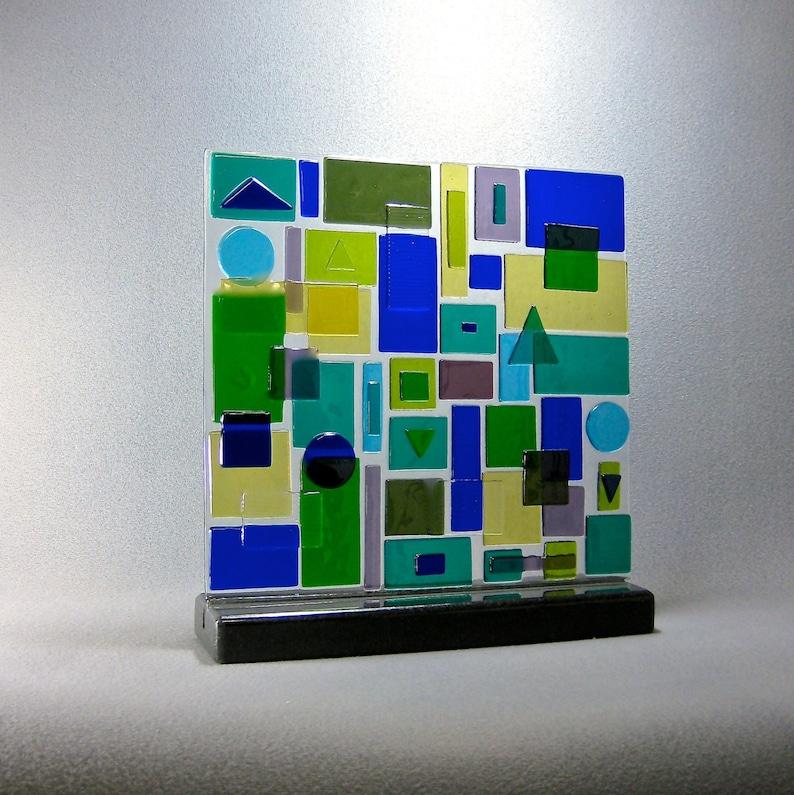 Mid Century Modern Art Glass Geometric Dimensional Patchwork image 0