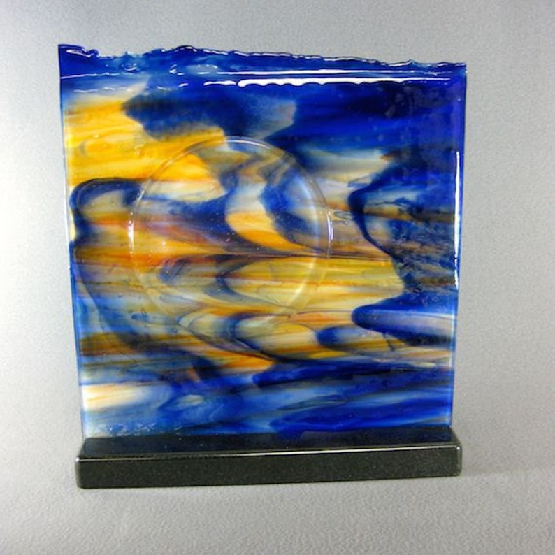 Art Glass Fused Abstract Sculpture Setting Sun Artist Signed image 0