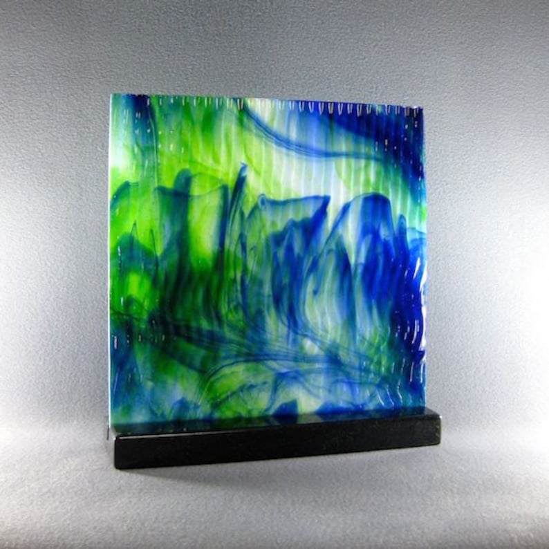 Art Glass Sculpture Abstract Dimensional Watercolor  Blues and image 0