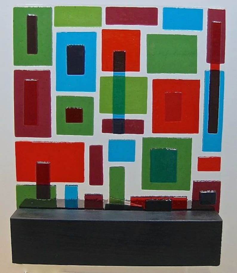 Mid Century Modern  Art Glass Sculpture Abstract Little Boxes image 0