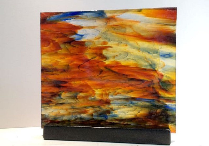 Art Glass Colorful Watercolor Textured Sunset Perfect For Your image 0