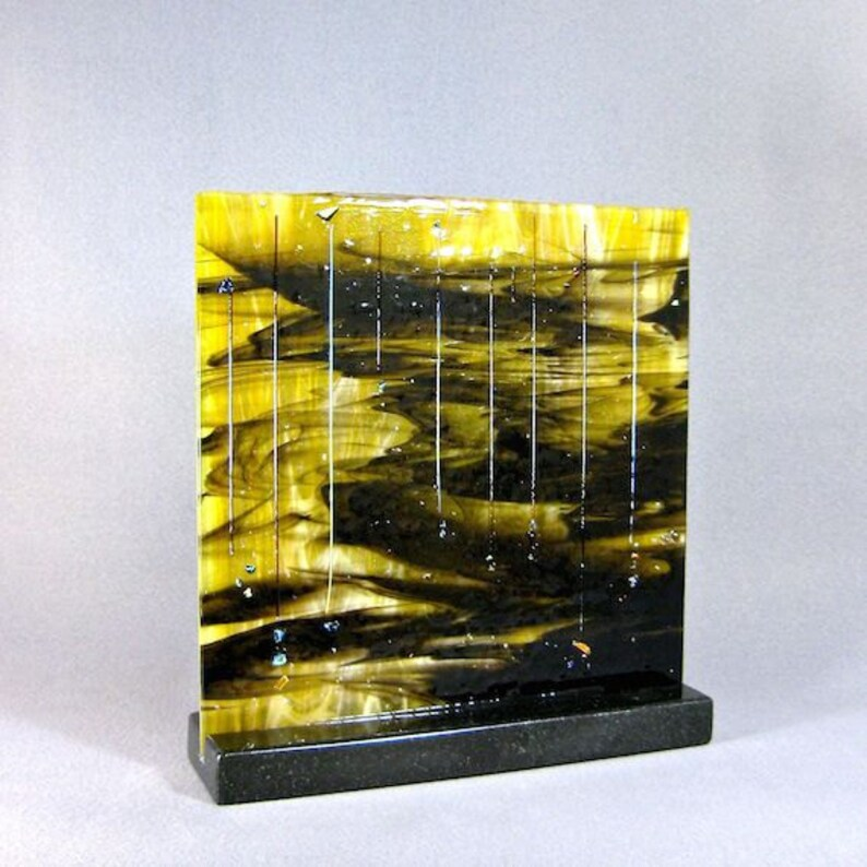 Art Glass Sculpture Abstract Dichroic Meteor Shower Artist image 0