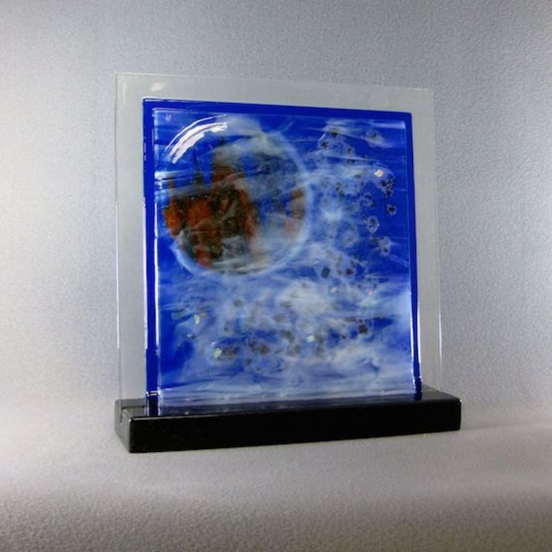 Art Glass Abstract Fused Glass Panel Castle In The Sky For image 0