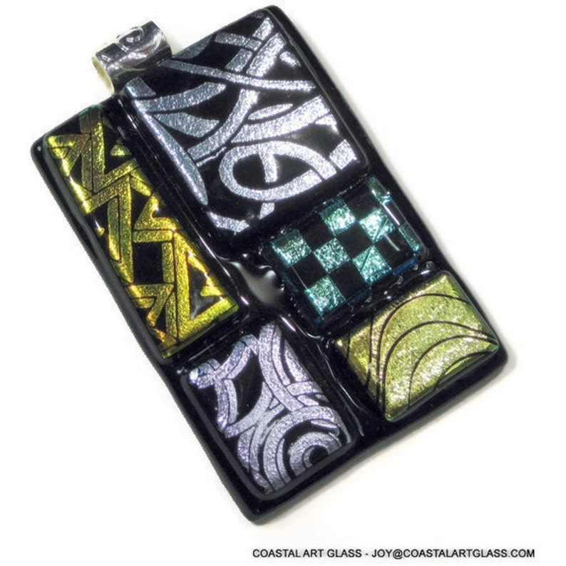 Fused Glass Abstract Art Pendant Necklace Silver Gold Dichroic image 0