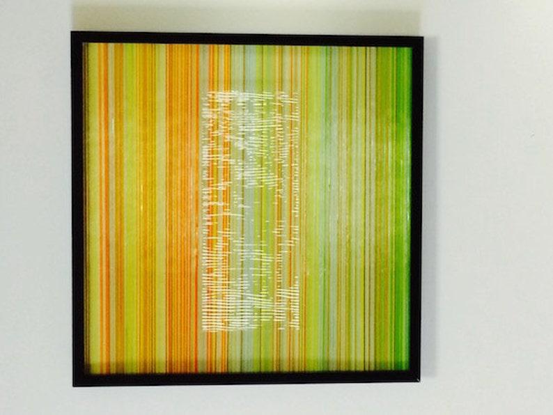 Modern Framed Dimensional Art Glass Vertical Strands With A image 0