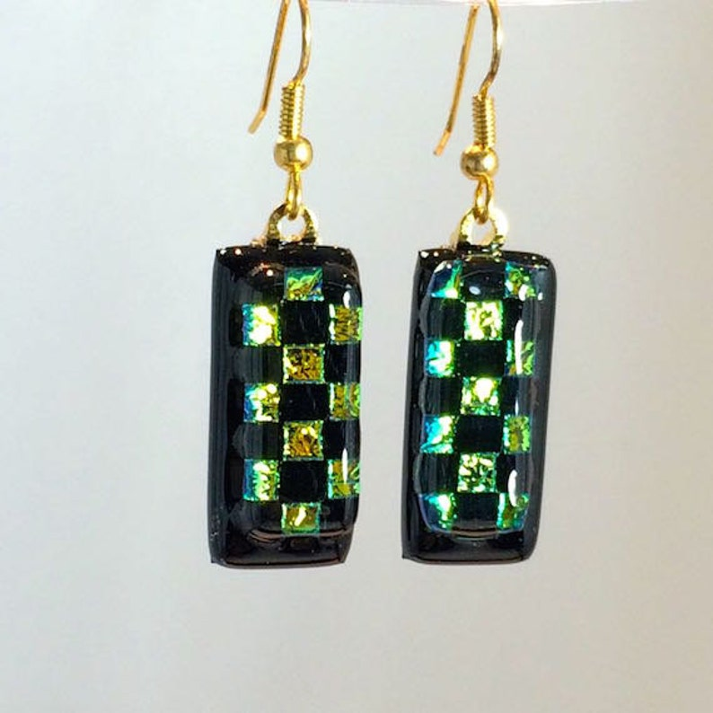Art Glass Dangling Earrings Dichroic Green and Black Squares image 0