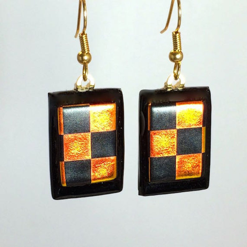 Dangling Fused Art Glass Dichroic Checkerboard Earrings image 0