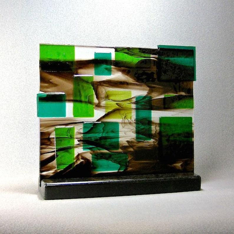Abstract Mid Century Modern Fused Art Glass Sculpture  Dappled image 0