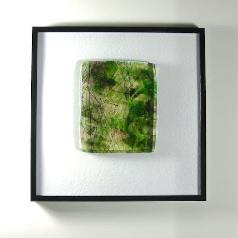 Art Glass Abstract Framed Picture Sculptural Slice of Spring image 0