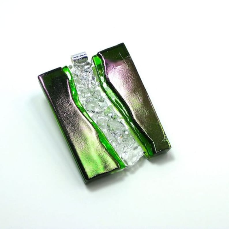 Art Glass Jewelry Dimensional Hand Sculptured Pendant Necklace image 0