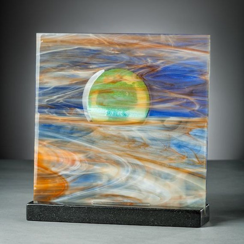 Art Glass Sculpture Abstract Sunset At The Beach Artist Signed image 0