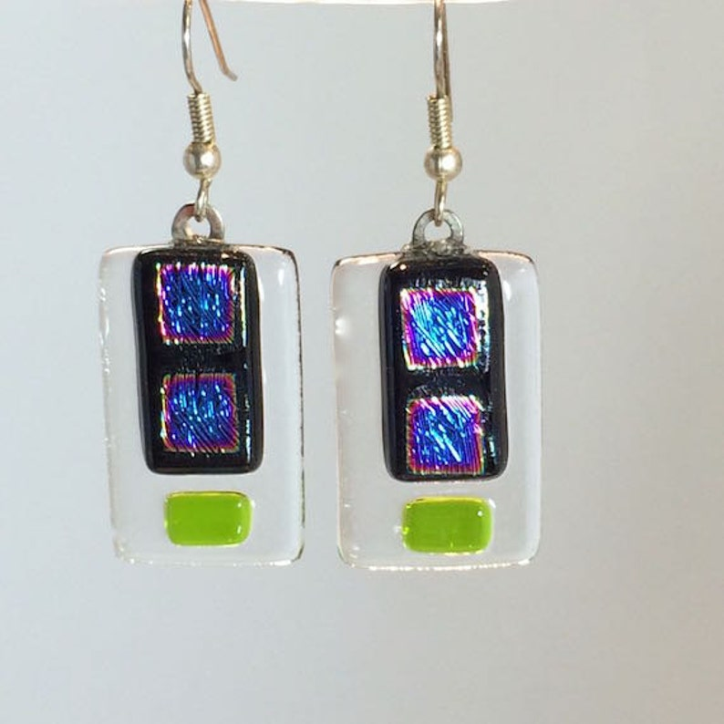 Dangling Earrings Dichroic Glass Blue Squares With Accent Of image 0