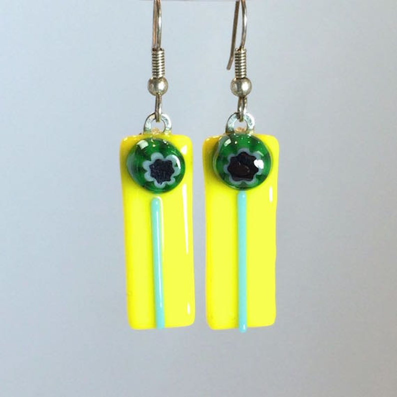 Earrings Dangling Bright Yellow Green and Blue Glass image 0