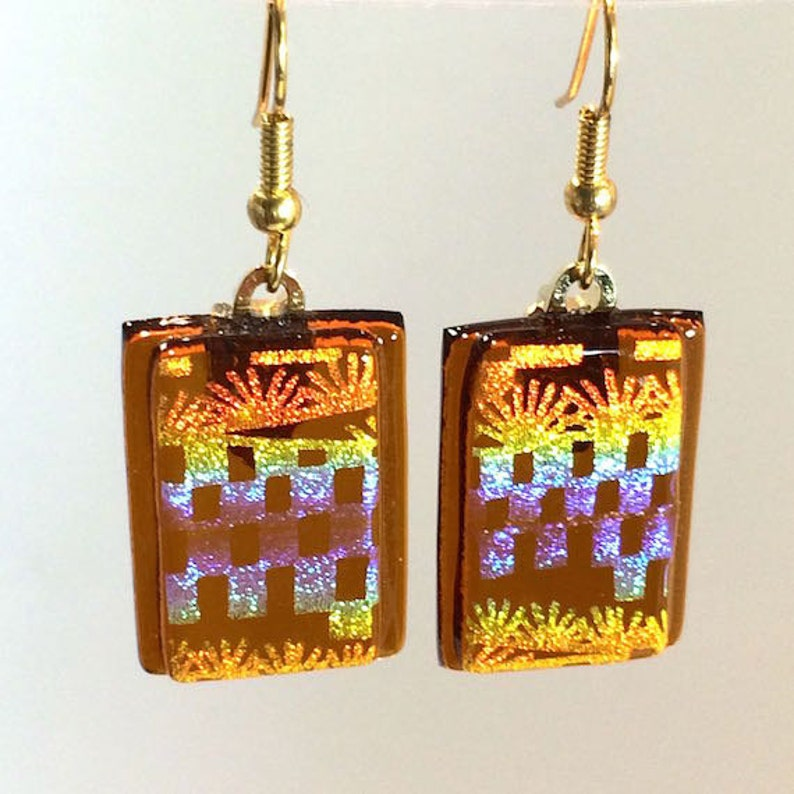 Dangling Fused Art Glass Earrings Dichroic Amber Gold image 0