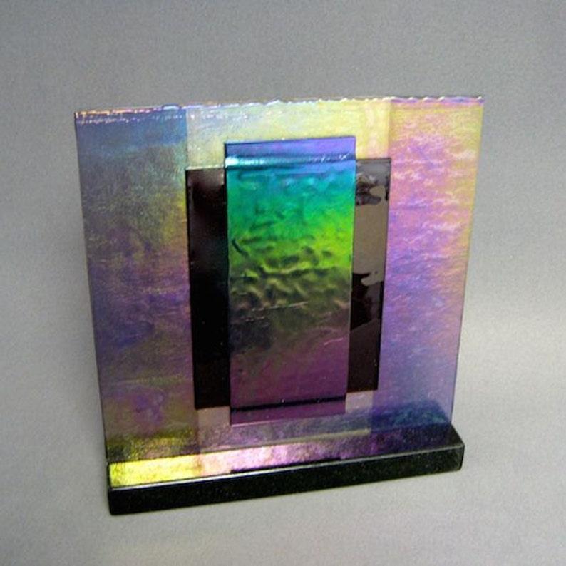Purple Iridescent Carnival Art Glass Sculpture Artist Signed image 0