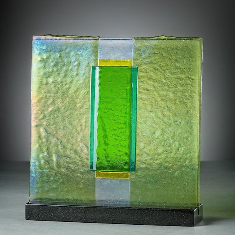 Art Glass Sculpture Panel Abstract Green Iridescent Early image 0