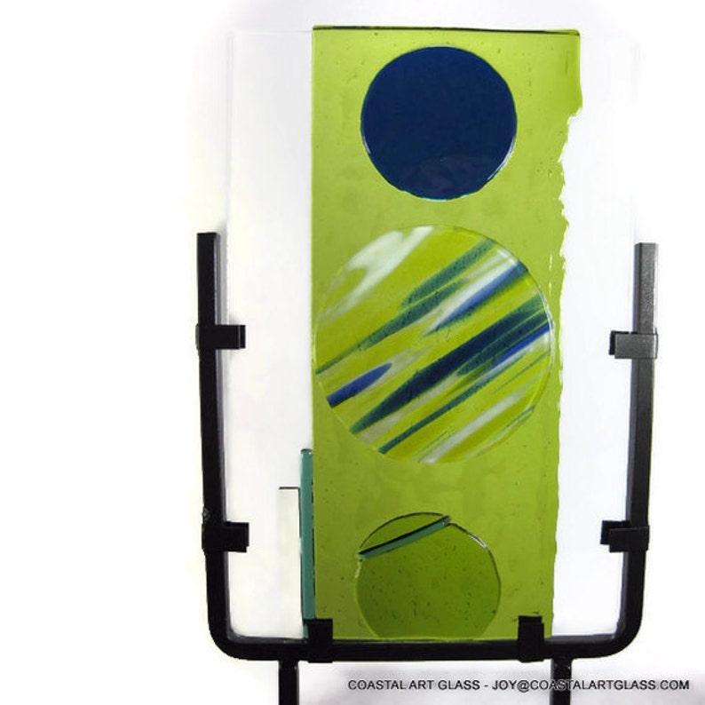 Art Glass Sculpture Mid Century Modern Circles Artist Signed image 0