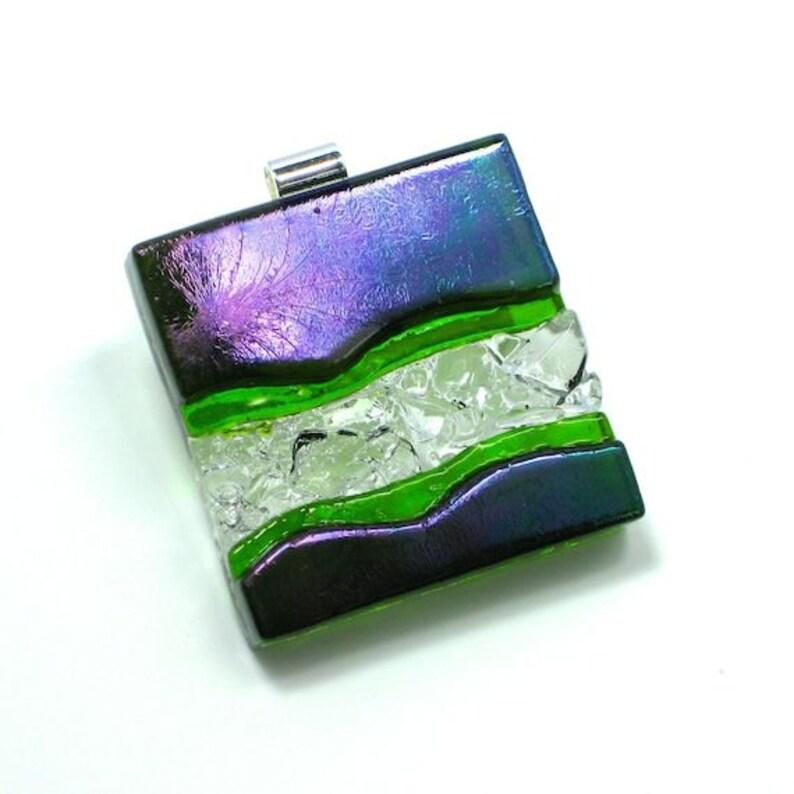 Statement Art Glass Jewelry Green Purple Dimensional Hand image 0