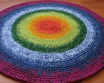 Happy Rainbow Rug, 30'' in diameter, hand made in the Baltic States, MADE TO ORDER