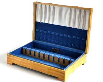 Silverware Chest Wooden Flatware Storage Case Blond Wood, Blue Silvercloth Interior, Harmony House (empty)