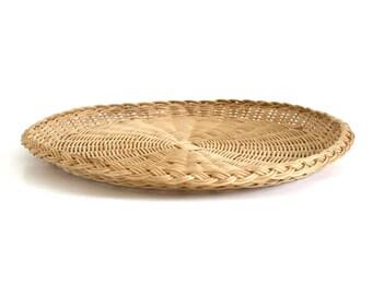 Large Wicker Paper Plate Holder 13  Rattan Serving Platter Flat Basket  sc 1 st  Etsy & Paper plate holder | Etsy