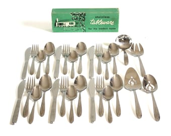 """Midcentury Stainless Flatware Set, Complete Service for 6, Superior Stainless USA """"Dynamic,"""" 1950s Silverware"""