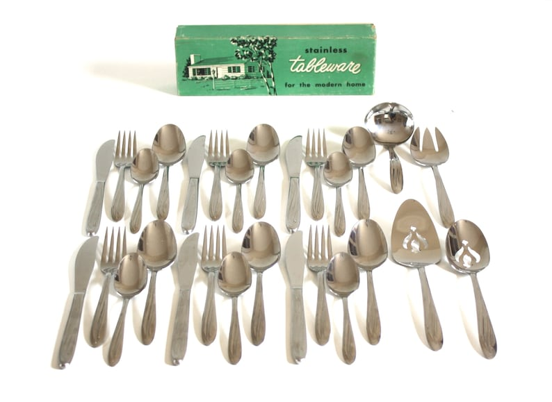 Midcentury Stainless Flatware Set Complete Service for 6 image 0