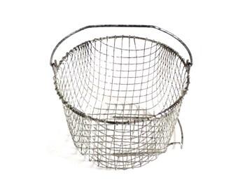 "Food Photography Prop, Wire Basket, Bail Handle, 7.75"" Deep Fryer or Egg Basket"
