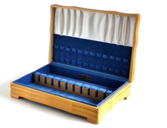 Silverware Chest Wooden Flatware Storage Case Blond Wood Blue