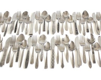 Mismatched Stainless Flatware Set or Individual Pieces, Mid Century Modern Silverware