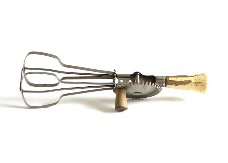 Ekco Egg Beater Hand Crank Mixer Kitchen Utensil Wood Handle image 0
