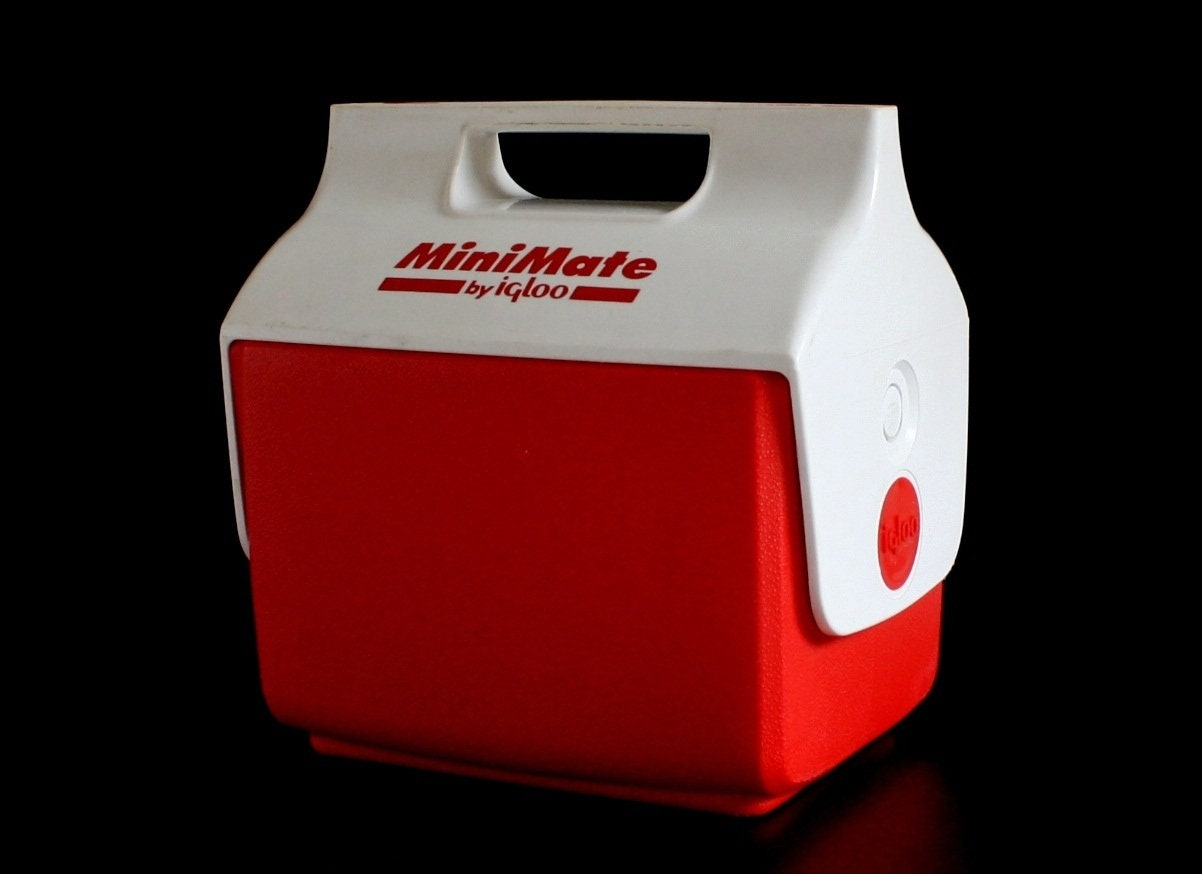 Igloo minimate cooler vintage side button red white 1990s - Igloo vintage ...