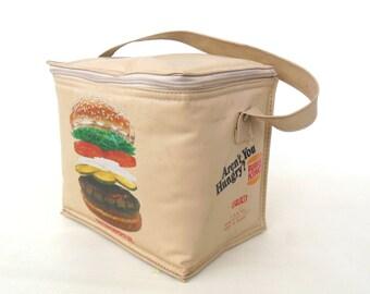 Lunch Bag Burger King Vinyl Cooler Vintage Tote - 1980s Whopper