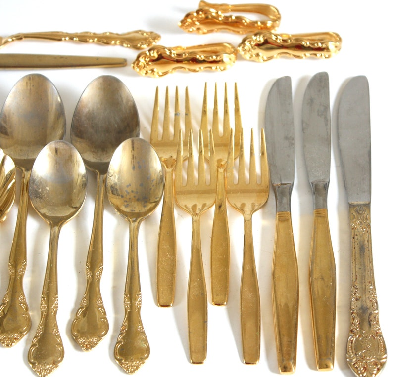 Gold Spoons, Salad Forks, Knives, Teaspoons, Electroplate Flatware Lot,  AS-IS