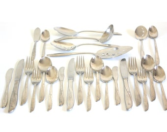 Oneida Twin Star Atomic Starburst Flatware Set Complete Service for 3, Replacement Pieces, Mid Century Modern Community Stainless Silverware
