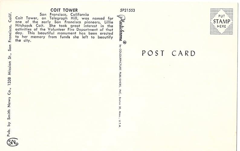 Vintage Postcard San Francisco Coit Tower California