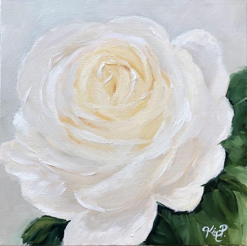 contemporary floral original canvas, Original Oil Painting:  White Rose neutral decor rose painting