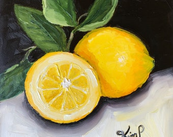 Original oil painting: Lemons #2 , mini painting, small format, kitchen art, black and white, yellow