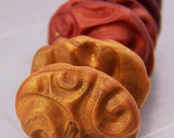 Gold, Copper, and Crimson Polymer Clay Disc Beads