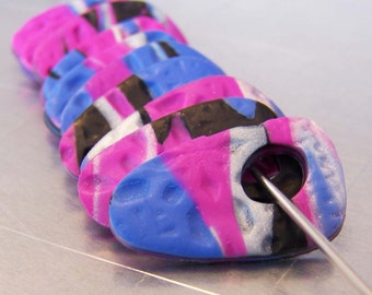 Polymer Clay Disc Beads Fuscia Cobalt and Black