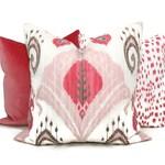Blush Pink Ikat Decorative Pillow Cover 18x18, 20x20 or 22x22 Eurosham or Lumbar Pillow, Throw, Accent Pillow, Samarkand ikat